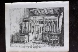 Anastatic Drawing Society 1858 Print. Chapel of St. Mary Magdalen, Ripon